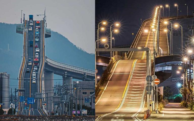 用生命在開車!看起來近乎垂直的日本江島大橋