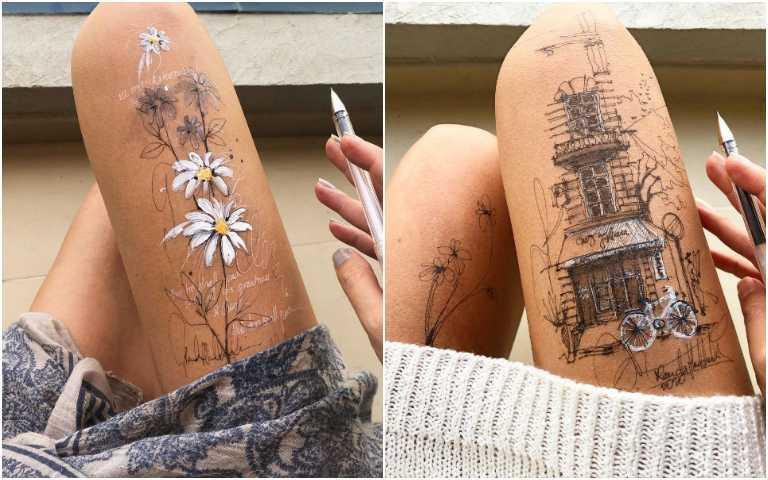 藝術家將自己「大腿」當作畫布,畫出一幅幅細膩精美插圖!