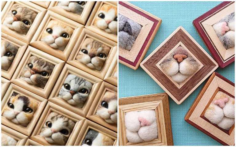 羊毛氈神複製貓咪探頭模樣,感覺下一秒就要鑽出來啦!