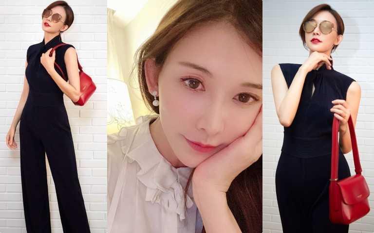 宅娛樂!林志玲努力做人 宅在家也要穿美美!以日本媳婦最常出現的黑色套裝+紅色經典包款自拍曬IG!