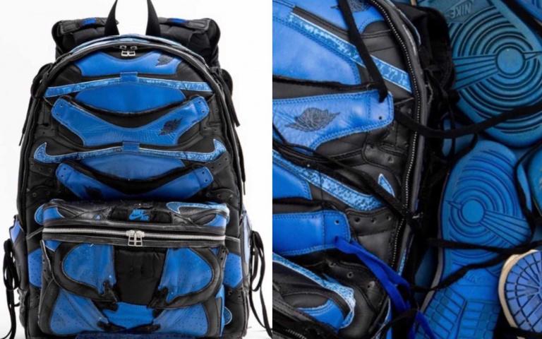 用 Jordan 1 Retro Royal「舊鞋」所製做出來的包包!將已經無法穿的鞋子重新賦予新生命!