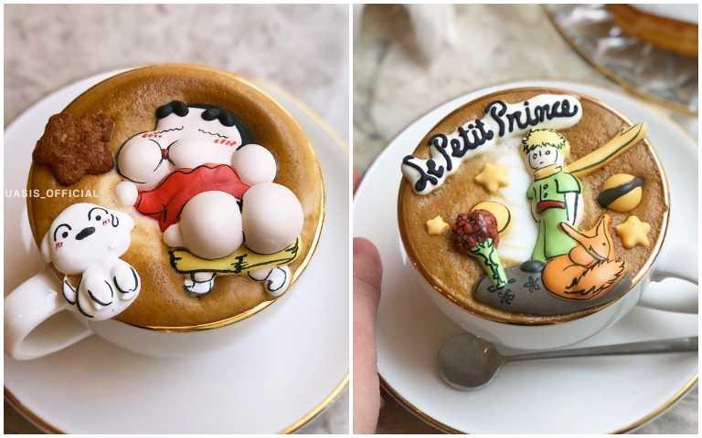小新立體屁屁、夢幻小王子,超Q蛋白糖霜餅漂浮咖啡,真的捨不得喝啦!