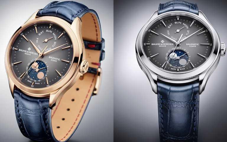 複雜功能腕錶藝術嶄新體現!名士表Baumatic克里頓系列全新陣容壯大5日鍊及月相顯示功能