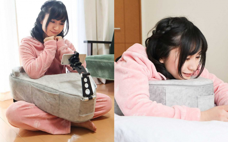 「懶人神器」又來了!日本推「V型靠枕墊」低頭族必買,還附贈「零食小口袋」!