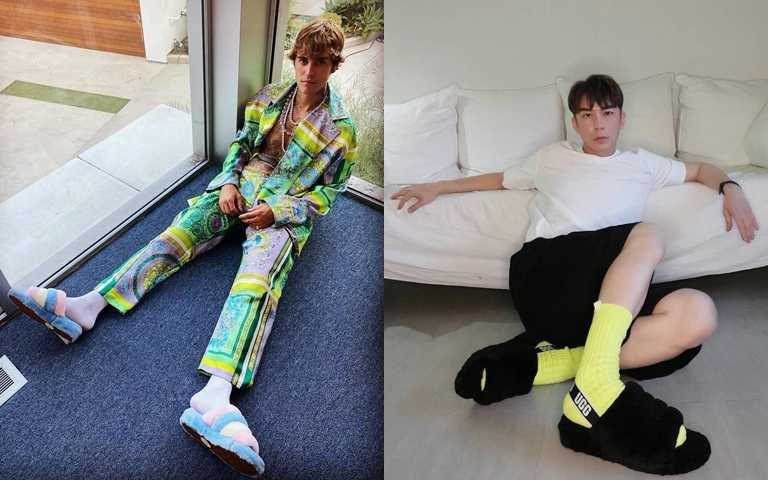 男生也超愛毛毛拖!小賈Justin Bieber、造型大師陳孫華搶搭毛絨拖凹造型!