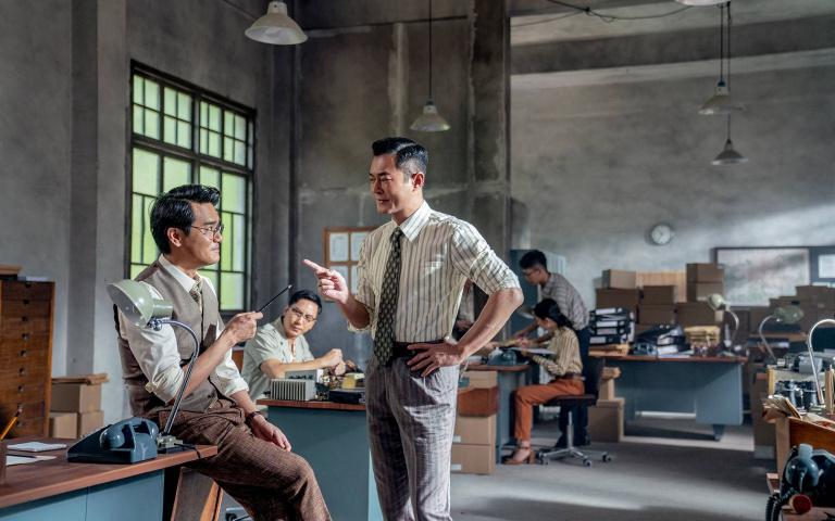 香港警匪電影《金錢帝國:追虎擒龍》 兩大影帝古天樂 林家棟 兩人大方表示拍片時有愛上對方之感