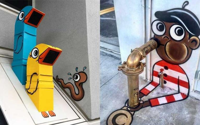 整條街都是我的畫布!超神祕的紐約藝術家 水管一秒變薩克斯風、人孔蓋成超美味披薩