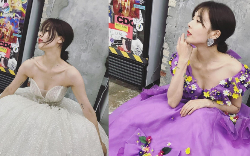 這次泫雅不扮性感小野貓!改穿紗裙洋裝、綁起低髮髻扮氣質小公主一樣美呆了!